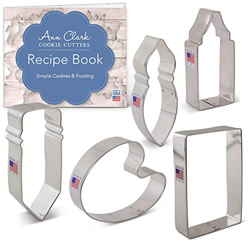 (Art/Artist's Cookie Cutter Set with Recipe Booklet - 5 piece - Pencil, Crayon/Glue, Paint Brush, Paint Palette, Paper - Ann Clark - USA Made)