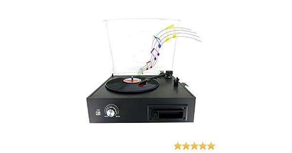Tocadiscos Vinilo – célula de lectura cerámica Ruby – 33/45/78 RPM, conector USB – Amplificador y altavoces integrados – negro