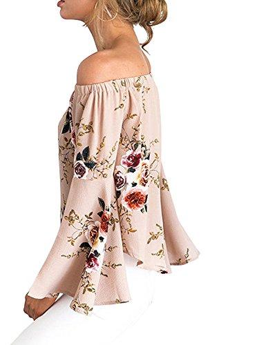 Fonc Abricot Manches Chemise Dnudes Top Imprime avec Chemisier Abricot paules S Femme Blouse Elevesee Volant Fleur XL xgw60Zpf