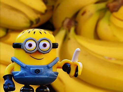 Home Comforts Peel-n-Stick Poster of Healthy Banana Fruit Minion Shopping Vitamins Poster 24x16 Adhesive Sticker Poster Print