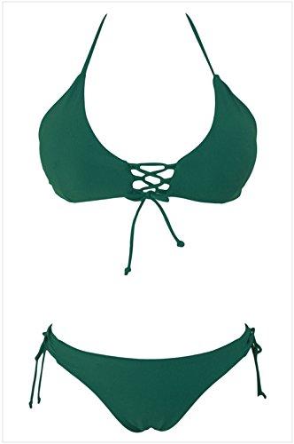 YeeATZ Green Stylish Tie Detail Halter 2pcs Bathing Suit(Green,M) (Newport Nylon Sandals)