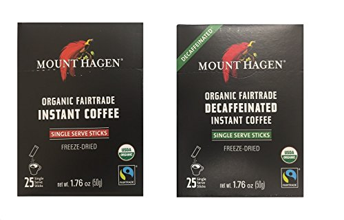 Mount Hagen - Organic Instant Coffee Freeze Dried 25 Single Serve Packets- 1.76 Oz Each ,Variety Pack ,1 Box Regular + 1 Box Decaff, (Pack of 2)