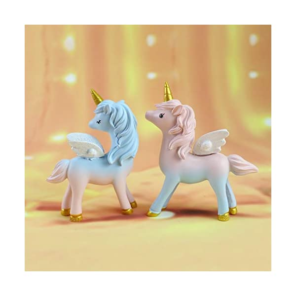 2 Style Unicorn Figurine, Mini Resin Unicorn Cake Topper for Baby Shower Kids Birthday Party Office Desk Decoration… 5