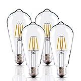 LED Edison Bulb 4W,Vintage LED Bulb,Dimmable LED Bulbs,Antique 4W LED Bulb,40W Light Bulb Equivalent,4W Filament LED Light Bulb,E26 LED Bulb,2700K Warm White,Clear Light Bulbs, 4 Pack