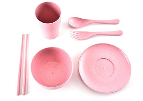 HBOS 6PC Environmental protection, health, wheat straw, children, household, tableware, suits, shatter-resistant, anti-scalding, ()