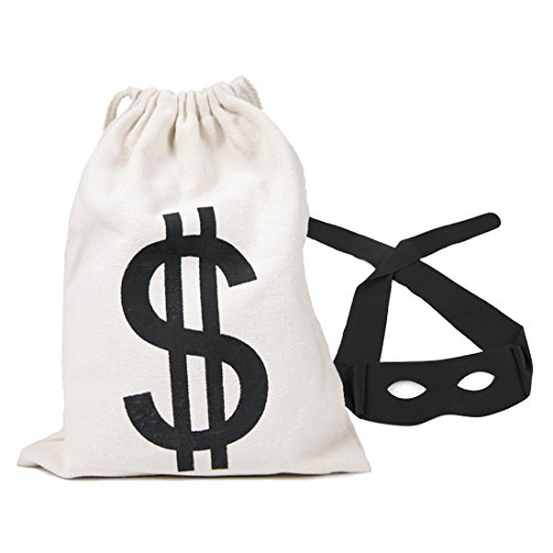 PAUBOLI Robber Costume Black Eye Mask+ Canvas Drawstring Bag Dollar Sign 11 x 17 and 8 x 10 Optional (8 x 10 inches)]()