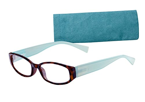 Wink Fancy Tort Face Reading Glass with Aqua Temples and Sue