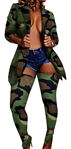 Women Camo Print Long Sleeve Jacket and Long Pants Stocking Set 2 Piece Outfits Sweatsuits Jumper