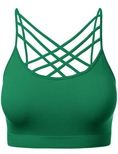 Women's Novelty Bras Criss-Cross Front Seamless Triple Bralette Sports Bra KellyGreen LXL