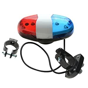 Generic 6 LED Cycling Police Siren Electric Light Horn Bell with Four Switches Control 4-Tone of Police Whistle