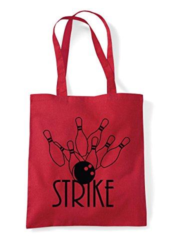 1 Shopper Tote Strike Statement Bag Red Bowling xww7Xz