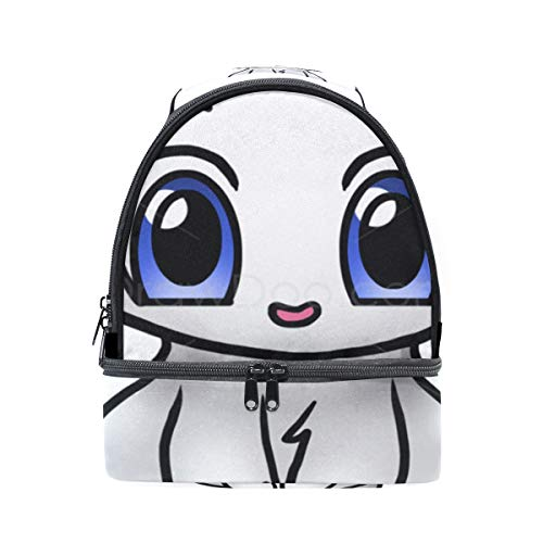 (Insulated Lunch Bag Reusable, Cute Kitten Cartoon Sling Shoulder Lunch Tote Travel Picnic Drawstring Bento Cooler Bag Double layer)
