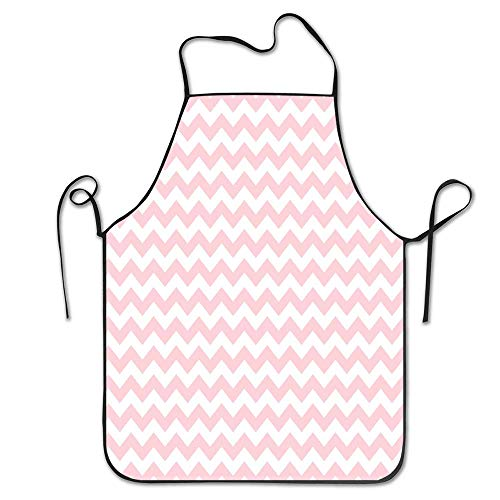 (Fnghcoshu Pink and White Chevron Wallpaper Kitchen Apron Bib Aprons Women Men Professional Chef Aprons with Long Ties Waiter Hostess Apron, Machine Washable)