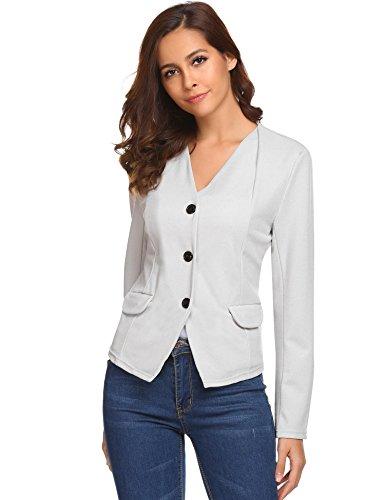 Burlady Womens Long Sleeve Solid Casual Work Office Slim Short Blazer Grey M