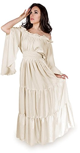 Renaissance Medieval Costume Mythic Mystic Forest Sword Mistress Chemise Dress OS (Cream) (Queens Gown Adult Costume)