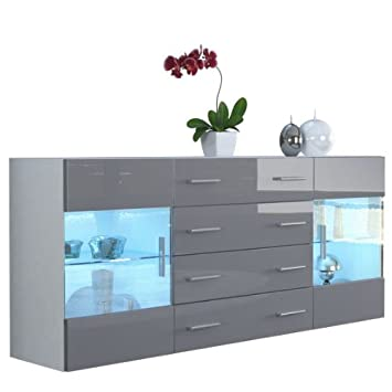 Sideboard Grau sideboard kommode bari v2 korpus in weiß matt front in grau