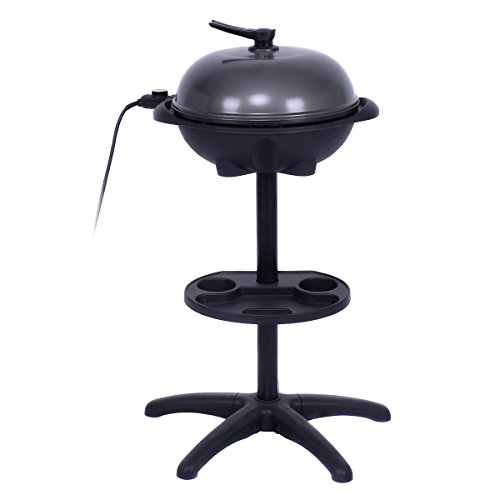 AyaMastro Non Stick Outdoor Electric BBQ Grill 1350W w/360 Rotatable Condiment Tray