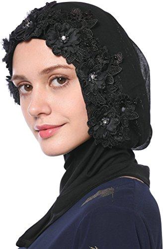 YI HENG MEI Women's Breathable Gold Glitter Flower Rhinestones Muslim Wedding Hijab Headscarf,Black by YI HENG MEI
