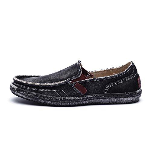 Casmag Heren Casual Doek Schoenen Canvas Instappers Loafers Outdoor Vrije Tijd Wandelen Sneakers Zwart