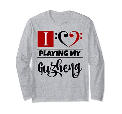 Double Black Red Bass Clef Heart I Love Playing My Guzheng Unisex Long Sleeve Shirt