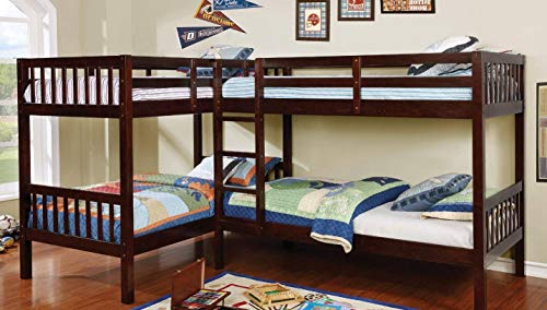 William's Home Furnishing CM-BK904-BED Marquette L-Shaped Quadruple Twin bunk Bed, Brown ()