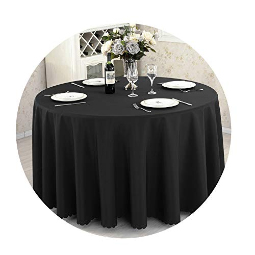 COOCOl Round Tablecloth Camping Table Cloth Linen Hotel Party Wedding Tablecloth Dining Coffee Table Cover,Black,Round 260Cm Diameter -