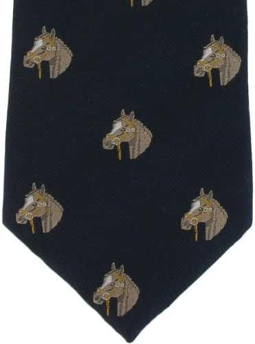 Navy Horse Head Silk Tie by Michelsons of London