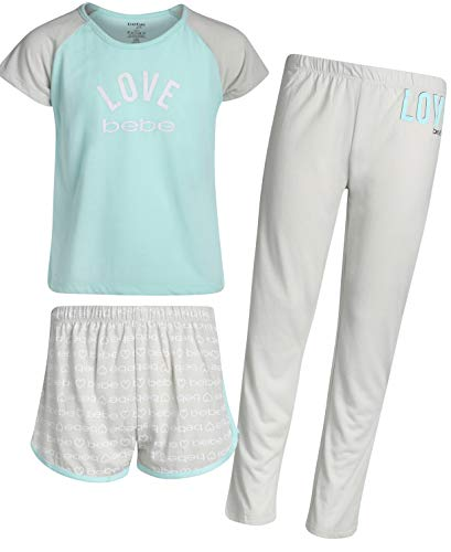 'Bebe Girls' 3-Piece Sleepwear Set with Short Sleeve Pajama Top, Shorts, and Pants, Light Blue/Love Bebe, Size 7/8' -