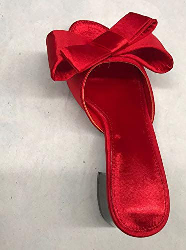 - Flat wear Sandals for Men Women 2019 Korean Version of The New Summer Big Bow Satin Round Head Wild Sandal Shoes Sandals