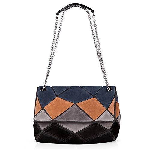 Nico Louise women's Genuine Suede Leather Purse Shoulder Bag Patch-color Messenger Handbag (Blue-Yellow-Grey-Black) (Genuine Suede Ladies Leather)