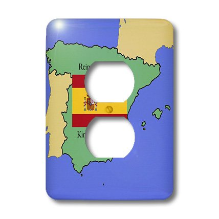 3dRose lsp_40068_6 The Map and Flag Of Spain with The Kingdom Of Spain Printed In Both English and Spanish 2 Plug Outlet Cover by 3dRose