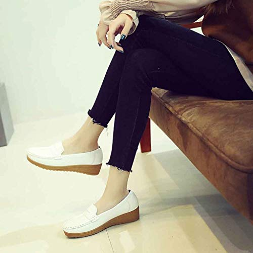 Femme Slip Shoes Sunnywill Pois En Chaussures Cuir Driving Mocassins Blanc Casual fqqRxgE0wC