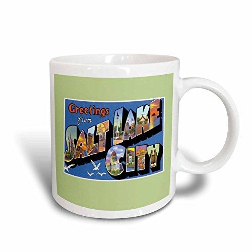 3dRose Greetings From Salt Lake City Scenic Postcard Reproduction - Ceramic Mug, 11-Ounce - Outlet Lake Salt