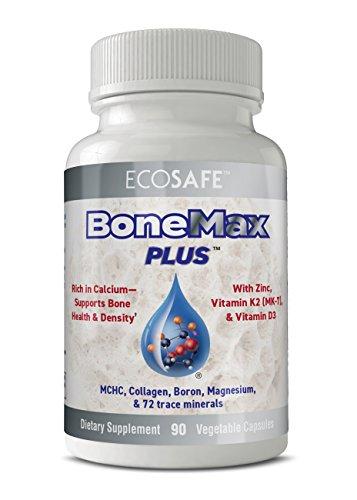 Ecosafe - BoneMax Plus Comprehensive Bone Builder - Helps Promote Bone Density - Pure Coral Calcium with Naturally sourced Vitamin D3, Vitamin K2 (MK-7), and MCHC - 90 Vegetarian Capsules