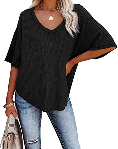 Albe Rita Women Half Sleeve V Neck Shirt Batwing Sleeve Blouse Loose Tops