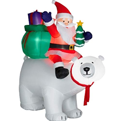 Bear Riding Polar (Christmas Yard Inflatables, Self-inflated 6 FT Santa Claus Riding a Head Shaking Giant Polar Bear with LED Lighting for Indoor and Outdoor Decorations)