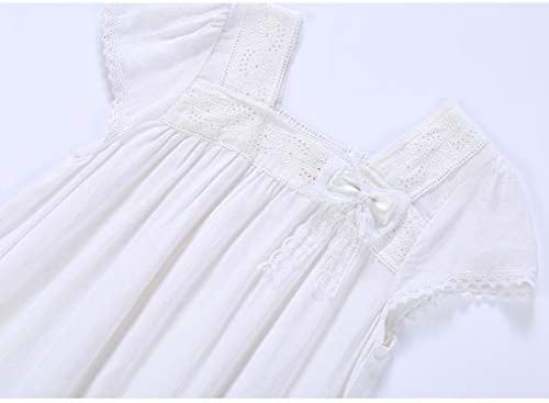 Gaga city Camicie da Notte Bianche per Bambina 100/% Cotone Pigiama con Ricamo