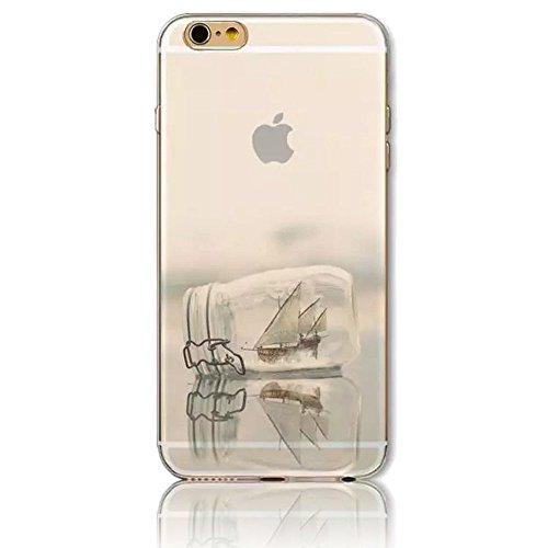 Funda iPhone 6 Carcasas Sunroyal Phone Case iPhone 6S Sunroyal Ultra Clear Creativo Natural Printing Pattern Transparente + Soft TPU Silicone Bumper Practical Ultra Slim Case Resistente a los Arañazos B-03