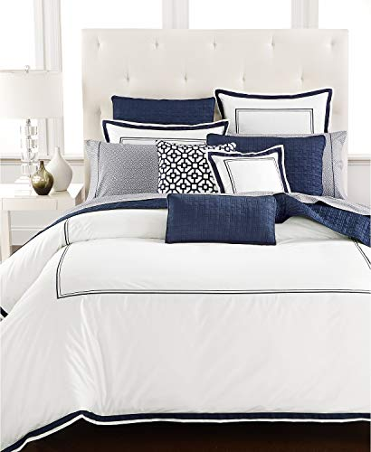 (Hotel Collection Embroidered Frame 525 Thread Count Cotton Full Queen Duvet Cover White)