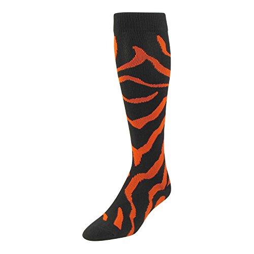 (TCK Sports Krazisox Zebra Stripe Socks (Black/Orange, Small))
