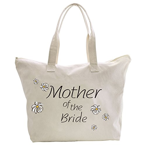 ElegantPark Mother of the Bride Tote Bag Daisy for Wedding Gifts Zip Cotton