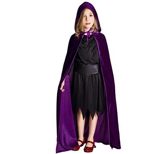 flatwhite Girl's Full Length Crushed Velvet Hooded Cape Costumes 57.48in (Purple)