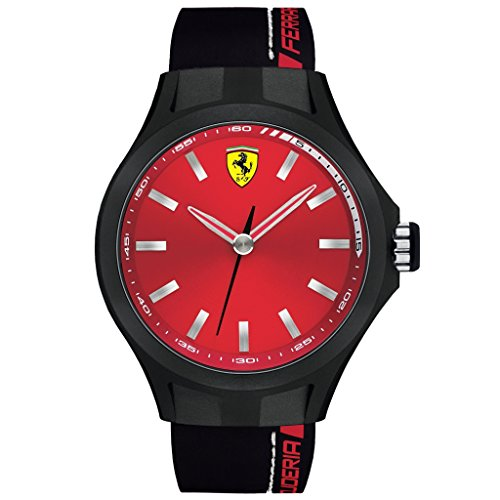 Ferrari 0830219 44mm Stainless Steel Case Black Silicone Mineral Men's Watch