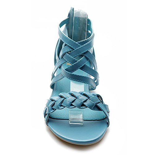 Women's Shoe Braided Multi Ballet Turquoise Color Flat Sandal Ollio Gladiator OnTfUxWtUa