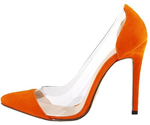 HooH Damen High Heel Spitze Zehe Transparent Hochzeit Pumps Orange