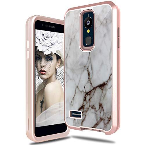 LG K30 Case, LG Premier Pro LTE Case, LG Harmony 2 Case, Tevero Cute Marble Pattern Heavy Duty Full Body Shockproof Protective Women Girls Phone Case Cover for LG K10 2018 (Marble)
