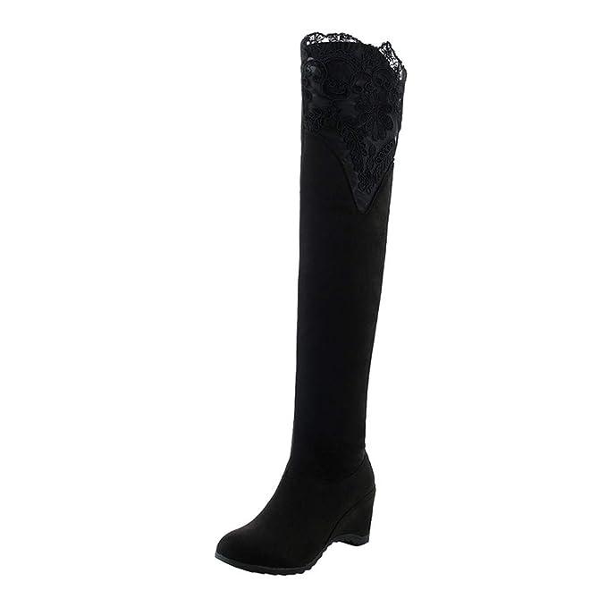 8c89cb2fdd0 DENER❤ Women Winter Knee High Boots with Wedge Heels