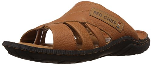 Redchief Men's Elephant Tan Leather Sandals and Floaters – 8 UK (RC0377)