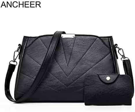 Women Fashion Artificial Leather Shoulder Bag Satchel Hobos Handbag Tote  Purse Color Black (30cm ba95cede88f32
