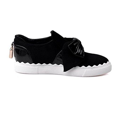 AllhqFashion Damen Ziehen auf Niedriger Absatz Blend-Materialien Gemischte Farbe Stiefel, Schwarz, 40